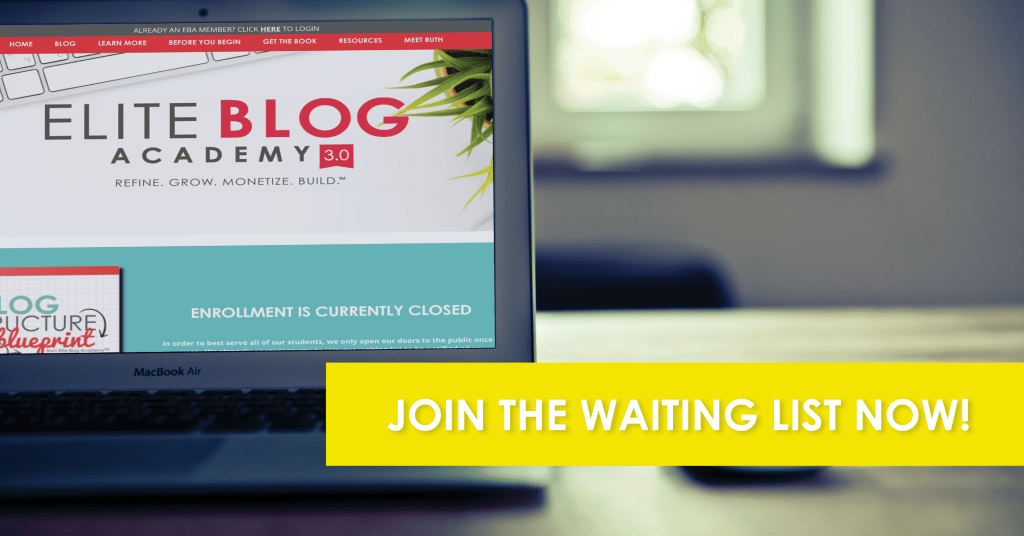 Join the waiting list computer for Elite Blog Academy