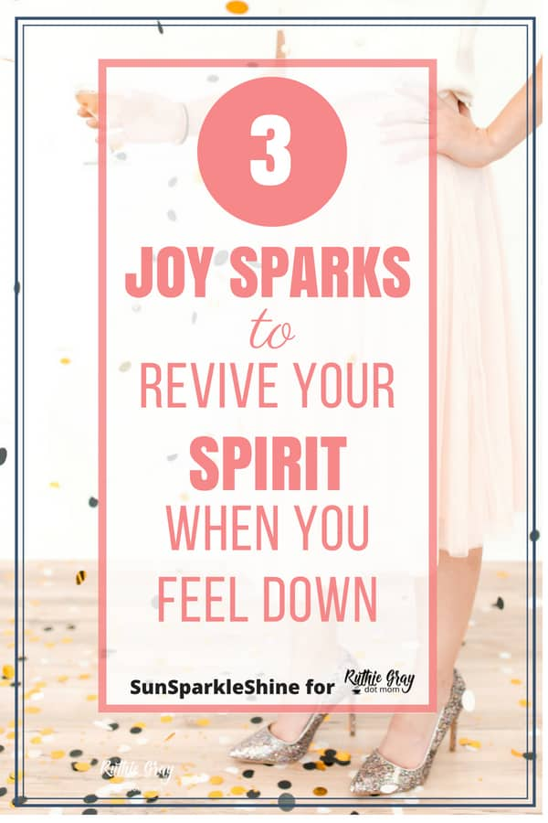 "Daily Encouragement: 3 ""joy sparks"" to revive your spirit; Bible verses, Scripture prayer, and genuine words of comfort for those days when you feel down. #encouragement #comfort #scripture #prayer #prayers #joy #revive #depression #sad"